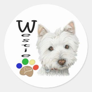 Gullig Westie hund- och tasskonst Runt Klistermärke