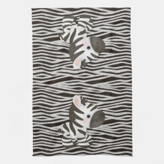 Gullig zebror & djurt tryck för Fauxstruktur Kökshandduk