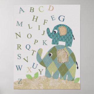 Gulliga alfabet för elefant för barnkammareväggkon poster