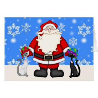 Gulliga älvakatter och Santa julkort Hälsningskort