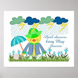 Gulliga ankaApril duschar kommer med majblommor Poster