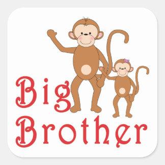 Gulliga apor 2 för storebror fyrkantigt klistermärke