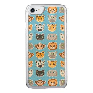 Gulliga blått för djungeldjurmönster carved iPhone 7 skal