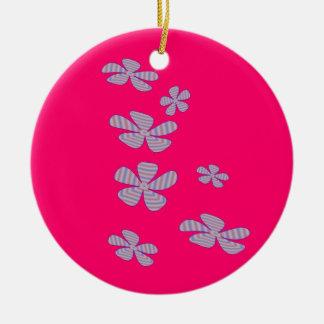 Gulliga blommor rund julgransprydnad i keramik