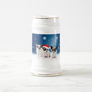Gulliga Chihuahuavalpar med Santa hattjul Sejdel
