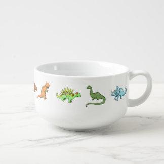 Gulliga Dinosaurs illustrerade färgrik konst Kopp För Soppa