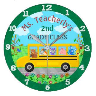 Gulliga djur för lärareklassrum på stor klocka
