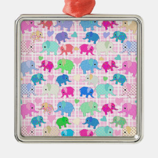 Gulliga elefanter silverfärgad fyrkantigt julgransprydnad