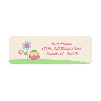 Gulliga etiketter för kuvert för kawaiiugglaretura returadress etikett