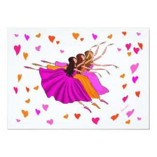 Gulliga färgrika Ballerinas som dansar och hoppar 12,7 X 17,8 Cm Inbjudningskort