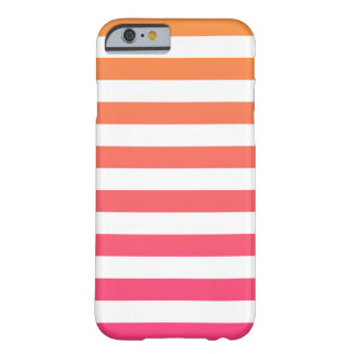 Gulliga färgrika Preppy orange rosa vitrandar Barely There iPhone 6 Fodral