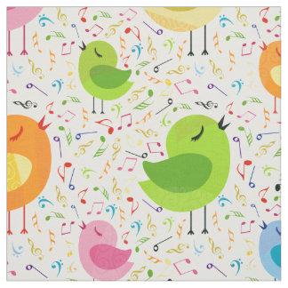 Gulliga färgrika sjungande fåglar & musik tyg