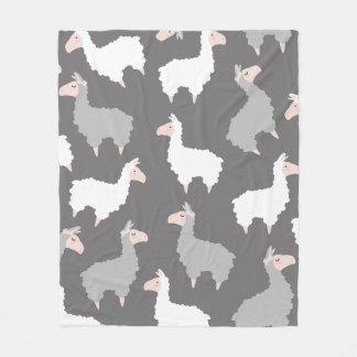 Gulliga fluffiga grå färg- & vitLlamas Fleecefilt