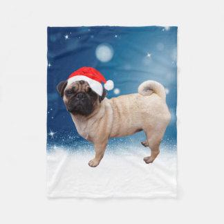 Gulliga för Santa för mopshundjul stjärnor för snö Fleecefilt