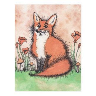 Gulliga Foxie & blommor Vykort
