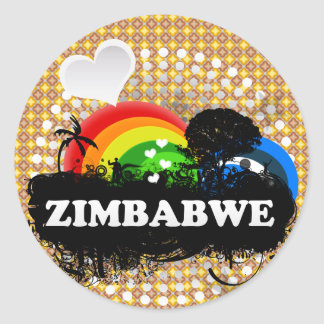 Gulliga fruktiga Zimbabwe Runt Klistermärke