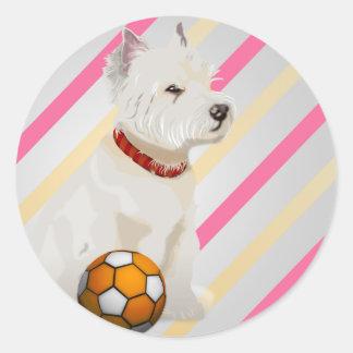 Gulliga gåvor för Westie hund- och bollkonst Runt Klistermärke