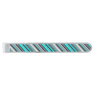 Gulliga gråa aquaaztecmönster slipsnål med silverfinish