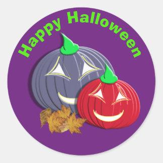 Gulliga happy halloweenpumpaansikten runt klistermärke