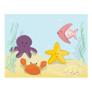 Gulliga havsdjur vykort