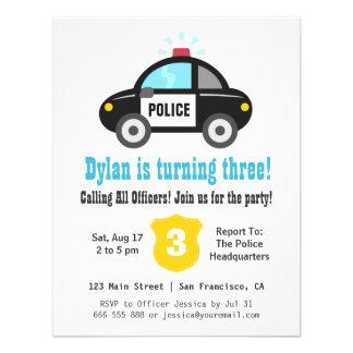 Gulliga inbjudningar för party för polisbilbarns