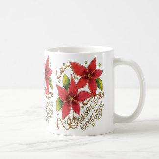 Gulliga julsäsong hälsningar med julstjärnor kaffemugg