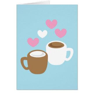 Gulliga kärlekhjärtor för kaffe och för varm hälsningskort