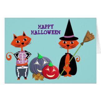 Gulliga katter för happy halloween hälsningskort