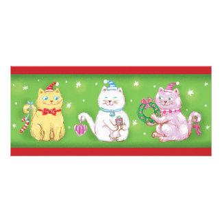 Gulliga katter för tecknadMeowy jul i Santa hattar Reklamkort