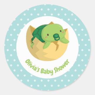 Gulliga kläckte baby showerklistermärkear för runt klistermärke