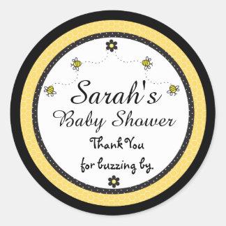 Gulliga klistermärkear för humlababy showertack runt klistermärke