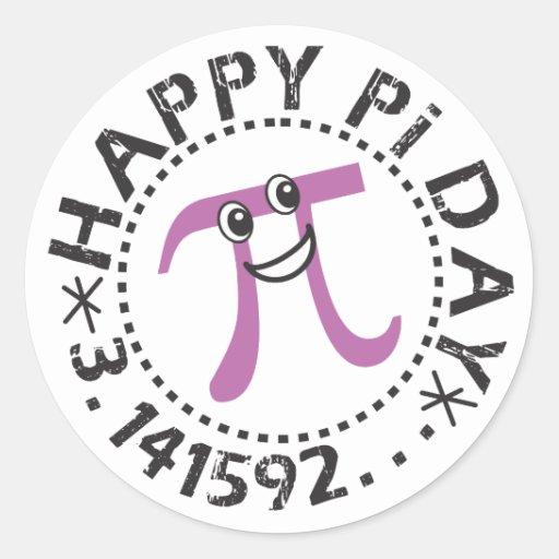Gulliga klistermärkear för lyckligPi-dag - roliga  Rund Klistermärke