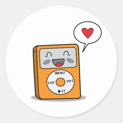 Gulliga klistermärkear för spelare MP3 Runda Klistermärken