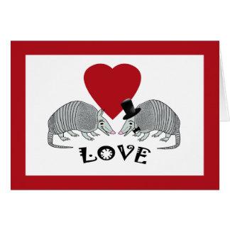Gulliga kort för bältdjurhjärtakärlek