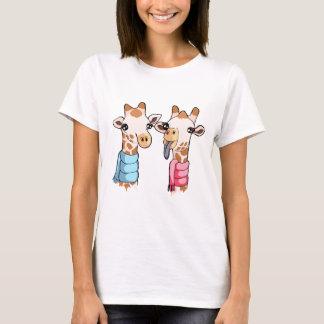 Gulliga kvinna för giraffScarfteckning T-tröja T-shirts