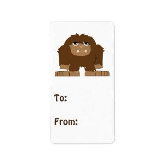 Gulliga lite Bigfoot Adressetikett