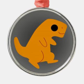Gulliga orange T-Rex på grå färg Julgransprydnad Metall