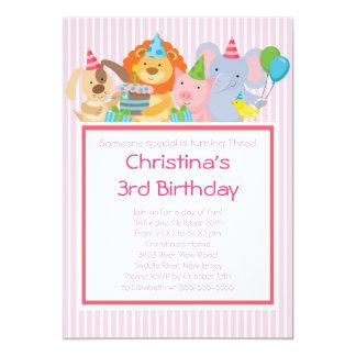 Gulliga partydjurfödelsedagsfest inbjudan 12,7 x 17,8 cm inbjudningskort