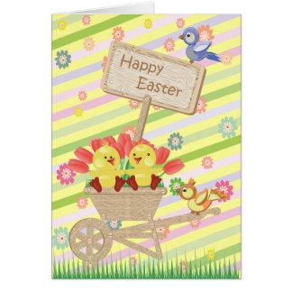 Gulliga påskchickar, skottkärra, blommor & fåglar hälsningskort