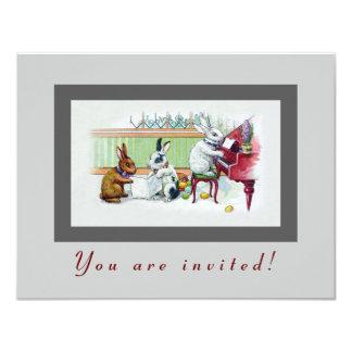Gulliga påskhare - vintagepåskparty 10,8 x 14 cm inbjudningskort