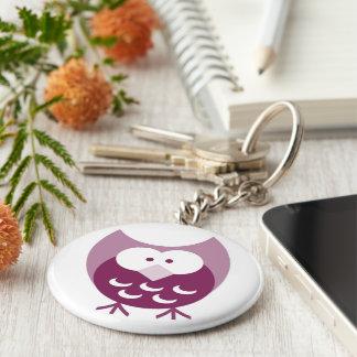Gulliga purpurfärgade Hootie Keychain Rund Nyckelring