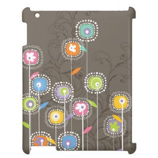 Gulliga Retro blommor på brun bakgrund iPad Mobil Skydd