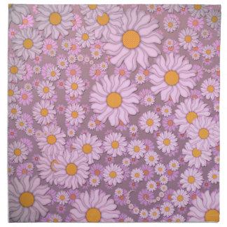 Gulliga rosa daisy över lavendelbakgrund tygservett