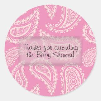 Gulliga rosa klistermärkear för Paisley flickababy Runt Klistermärke