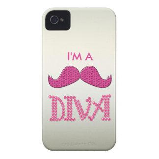 Gulliga rosa Mustache& pryder med pärlor divaen iPhone 4 Case-Mate Cases