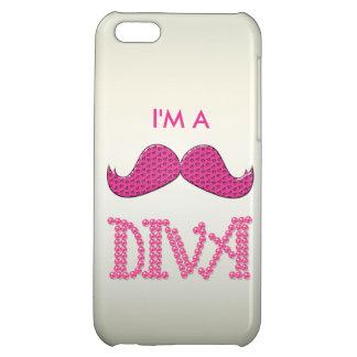 Gulliga rosa Mustache& pryder med pärlor divaen iPhone 5C Mobil Skydd