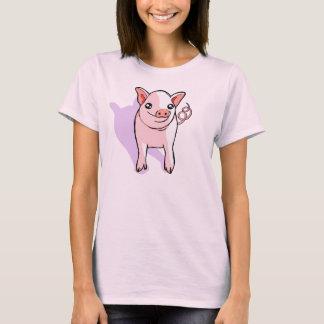 Gulliga rosa Pigletteckningkvinna T-tröja Tröjor