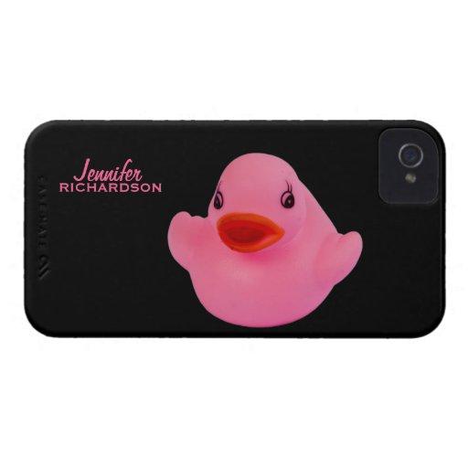 Gulliga rosor för Rubber anka, roliga beställnings Case-Mate iPhone 4 Fodraler