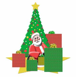 Gulliga Santa med den festliga presenterjulgranen Fotoskulptur Julgransdekoration