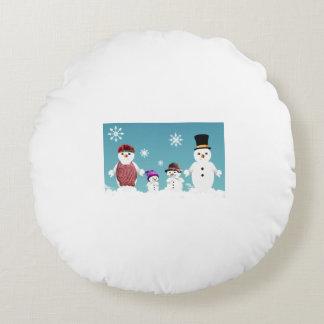 Gulliga snögubbe familj för jul rund kudde